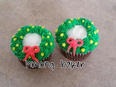 Christmas Wreath Cupcake. Christmas cake decorating