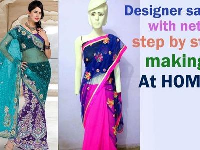 Designer saree making at home very easy step by step tutorial DIY