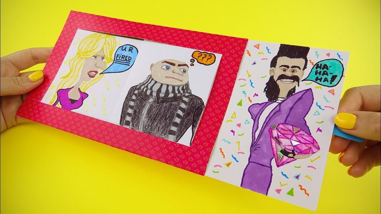 Despicable Me 3 Animated Card with Balthazar, Gru, Valerie Da Vinci   Window Slider Card Tutorial