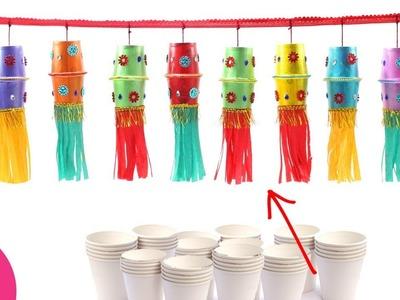 DIY Diwali Door Lantern Hanging.Toran from Using Paper Tea Glass   Sonali's Creations