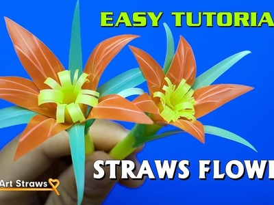 DIY Easy Straw Flower Tutorial - How to Make Beautiful Flowers from Drinking Straws  #DIY Art Straws