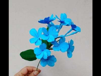 Diy How to make paper flowers Cape Leadwort. Blue Plumbago (flower # 214)
