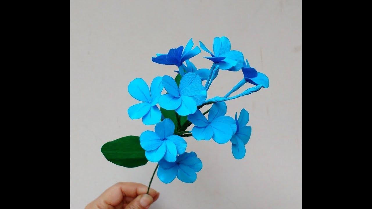 Diy How to make paper flowers Cape Leadwort. Blue Plumbago (flower # 214)