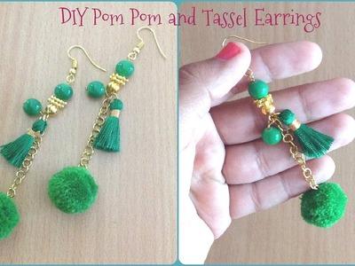 DIY Pom Pom and Tassel Earrings II Handmade tassel and pom pom earrings