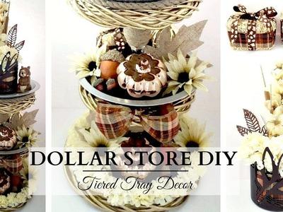 DOLLAR STORE DIYs ~ Fall Tiered Tray ~ NEUTRAL Fall Home Decor