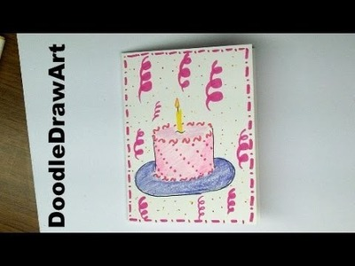 Drawing: How to make a Birthday Card with a Cake on it!  Easy! For Kids or beginners step by step