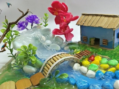 Hot Glue Waterfall House with a wonderful Scenery How to make ?