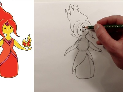 How to Draw FLAME PRINCESS from ADVENTURE TIME - Drawing Tutorial for Kids and Beginners