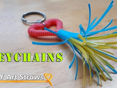 How to make beautiful heart Keychains with drinking straws flower #DIY Art Straws