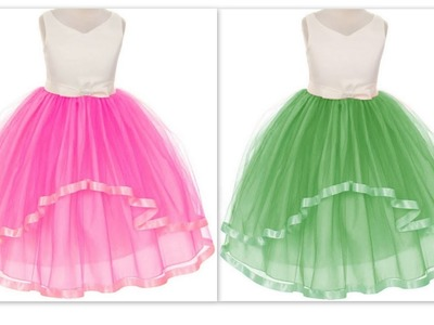 How to make latest quinceanera party wear high low organza dress with rhinestones bow belt(DIY)
