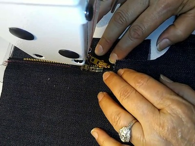 How to sew a fly front zipper for denim jeans