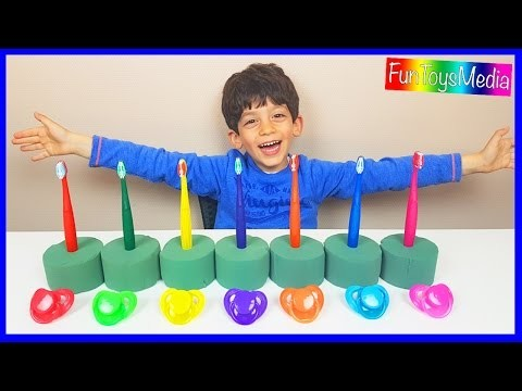 Learn Colors and Numbers with Tooth Brushing for Children and Toddlers | Finger Family Nursery Rhyme