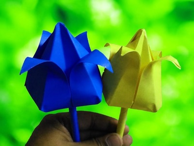 Origami | How to Make Paper Flowers | Origami Lotus Flower from crepe paper | DIY Paper Crafts