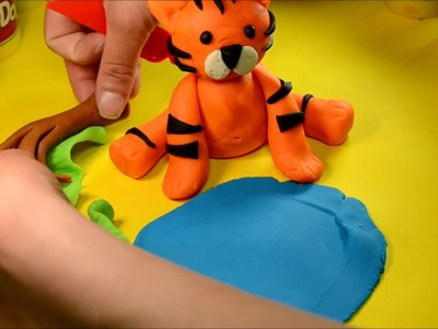 Tiger & Play Doh. How to Make funny Tiger for kids using modelling clay Play doh