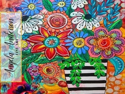 Boho Flower Vase Acrylic Painting | Art Exchange Part 2 Ayala Art Collab