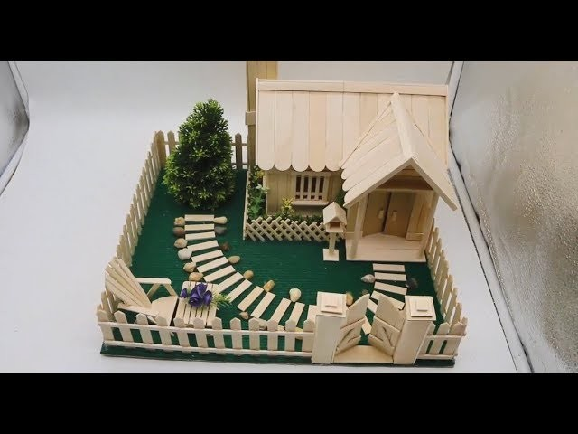 Buiding A Small And Beautiful House By Using Popsicle