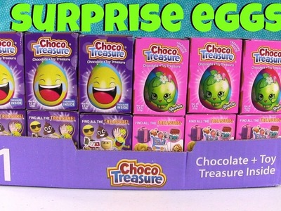 Choco Treasure Emoji Shopkins Chocolate Surprise Egg Palooza Opening | PSToyReviews