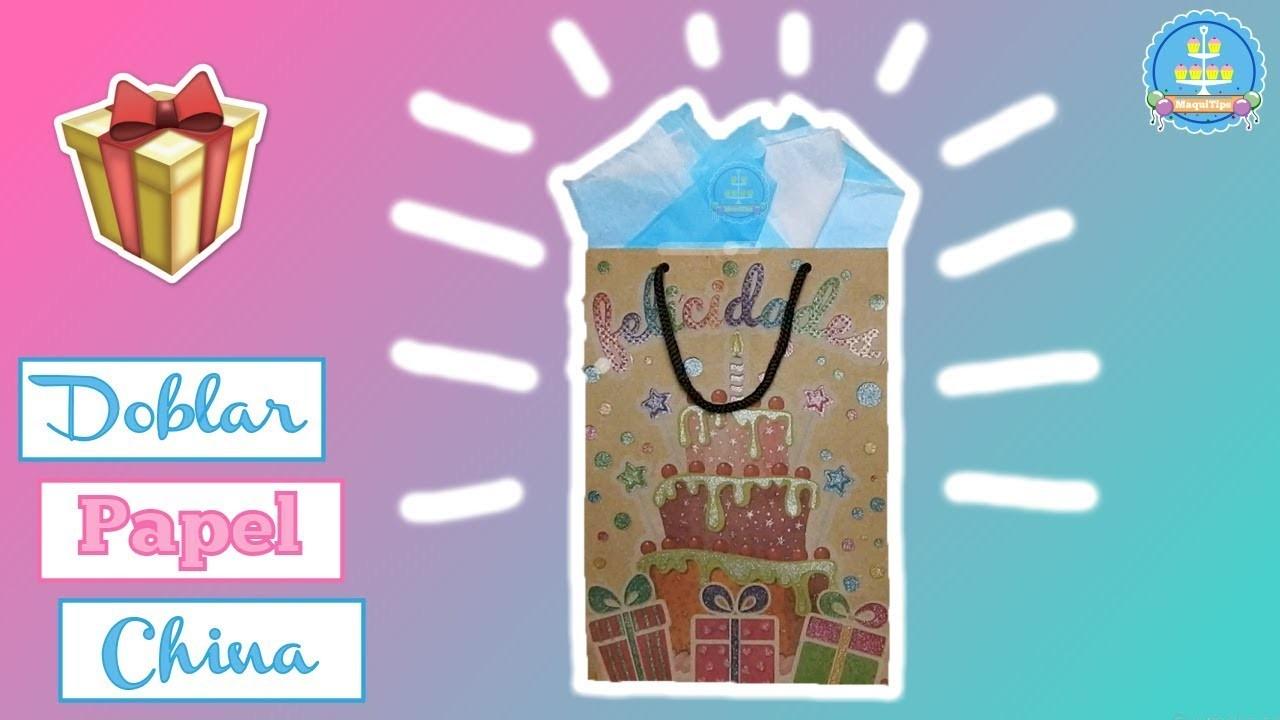 Como doblar papel china para bolsa de regalo facil como - Envolver regalos con papel de seda ...
