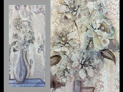 Decoupage 3D with Stone Paper and One Stroke Technique - MIXED MEDIA