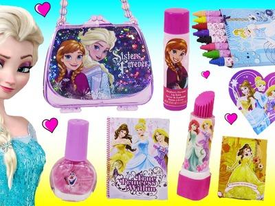 Disney Princess Back to School! Notebooks Pencil Case  Crayons! FROZEN Elsa Lip Balm! HAPPY Places!