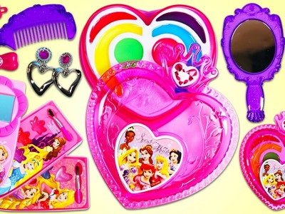 DISNEY PRINCESS Beauty & Makeup Styling Set with Lipgloss, Hairbrush, Earrings & More!