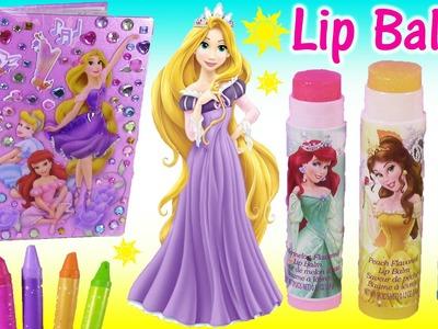 Disney Princess Stick-On Styles Light Up Activity Book! Design with Sparkly Gems! LIP Balm Tin!