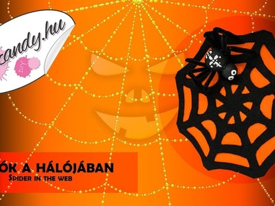DIY Halloween decoration: Spider in the web