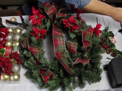 EASY DIY Dollar Tree Christmas Wreath. Wreath Tutorial 2017. Traditional Christmas Wreath