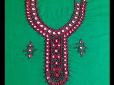 Hand Embroidery :Sheesha design.mirror design