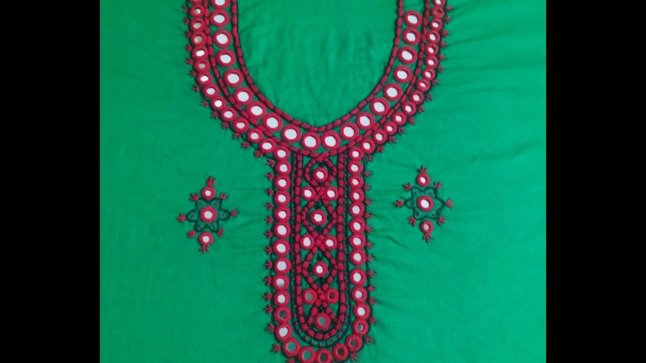 Hand Embroidery :Sheesha design.mirror design