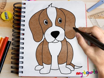 How to draw a Beagle - Easy step-by-step drawing lessons for kids
