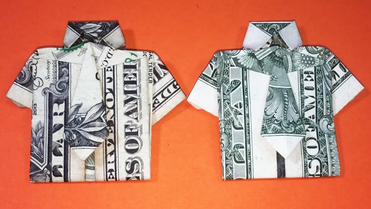 How to fold origami money t shirt tie tutorial my for How to make a shirt with money