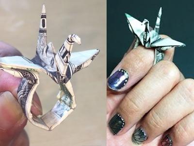 How to Make Origami Money Crane Ring Tutorial DIY