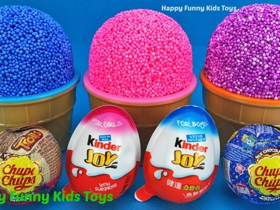 Kinder Joy Play Foam Ice Cream Surprise Toys Minnie Mouse Kinetic Sand Balls Learn Colors for Kids