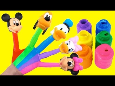 Learn Colors for Kids Body Paint Finger Family Nursery Rhymes PEZ Mickey Mouse Clubhouse RL