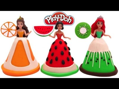 Learn Colors Play Doh Fruit Disney Princess Dresses Belle Ariel Magiclip