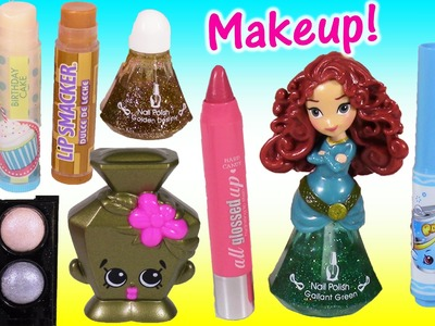 Makeup Bag SURPRISE! Lip SMACKER Lip Balms Disney Princess SHOPKINS Eyeshadow! Cosmetics