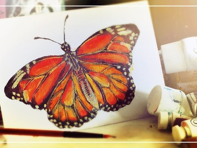 Monarch Butterfly on Mini Canvas | Speed Painting