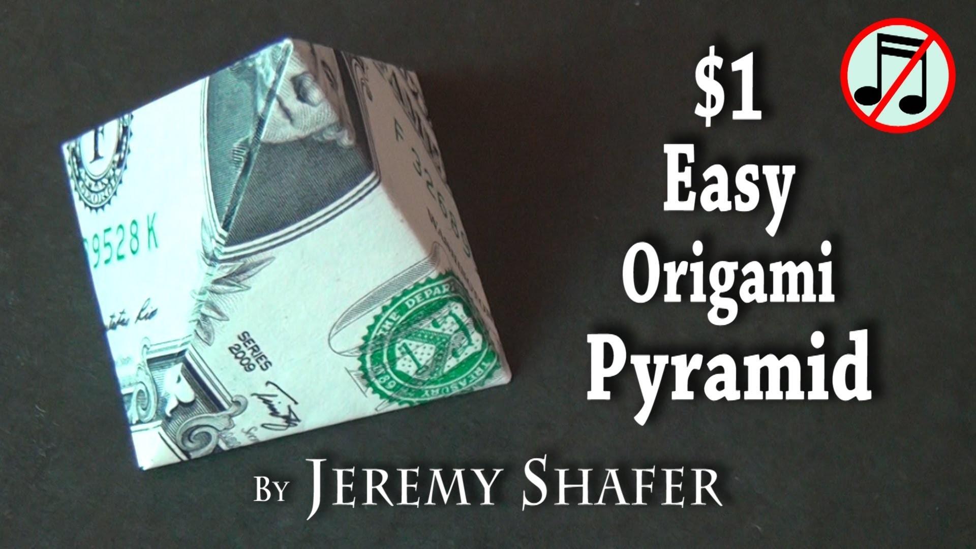 One Dollar Easy Origami Pyramid (no music) - photo#13