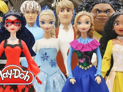 Play Doh Couples Dress Disney Princess Moana Maui Elsa Jack Frost Anna Kristoff Ladybug Cat Noir