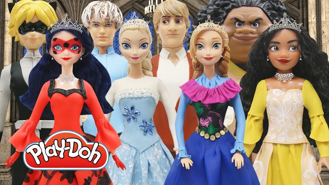 Play Doh Couples Dress Disney Princess Moana Maui Elsa Jack Frost Anna Kristoff Ladybug Cat Noir