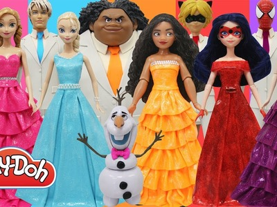 Play Doh Dress Disney Princess Moana Elsa Anna Ladybug Maleficent Spiderman Cat Noir Maui
