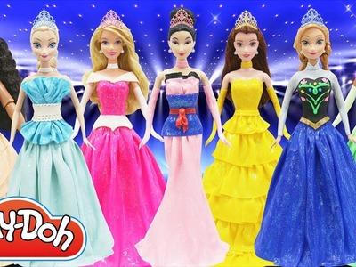 Play Doh Prom Dress Disney Princess Moana Elsa Anna Frozen Tiana Belle Mulan Aurora