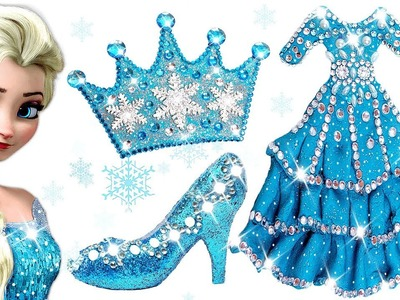 Play Doh Sparkle Barbie Disney Princess Frozen Elsa Shoes High Heels Dress Crown Play Doh Toys Kids