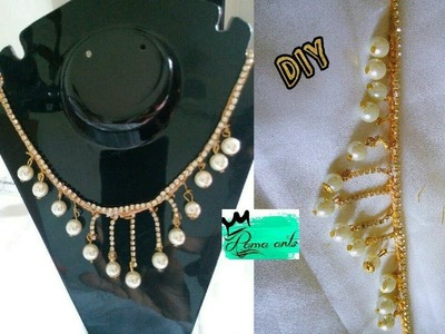 Silk thread necklace - Making with Pearls and stone chain | jewellery tutorials