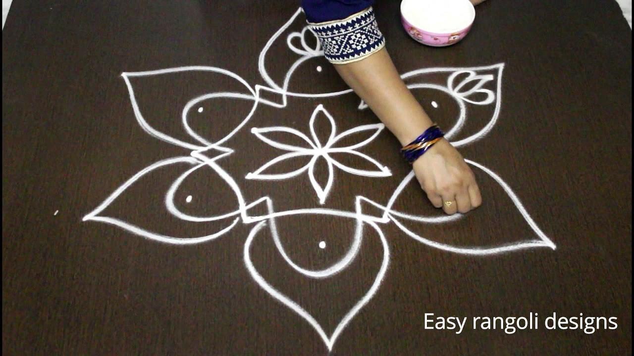 Simple Rangoli Designs With 5x3 Middle Dots Easy Kolam Latest Muggulu