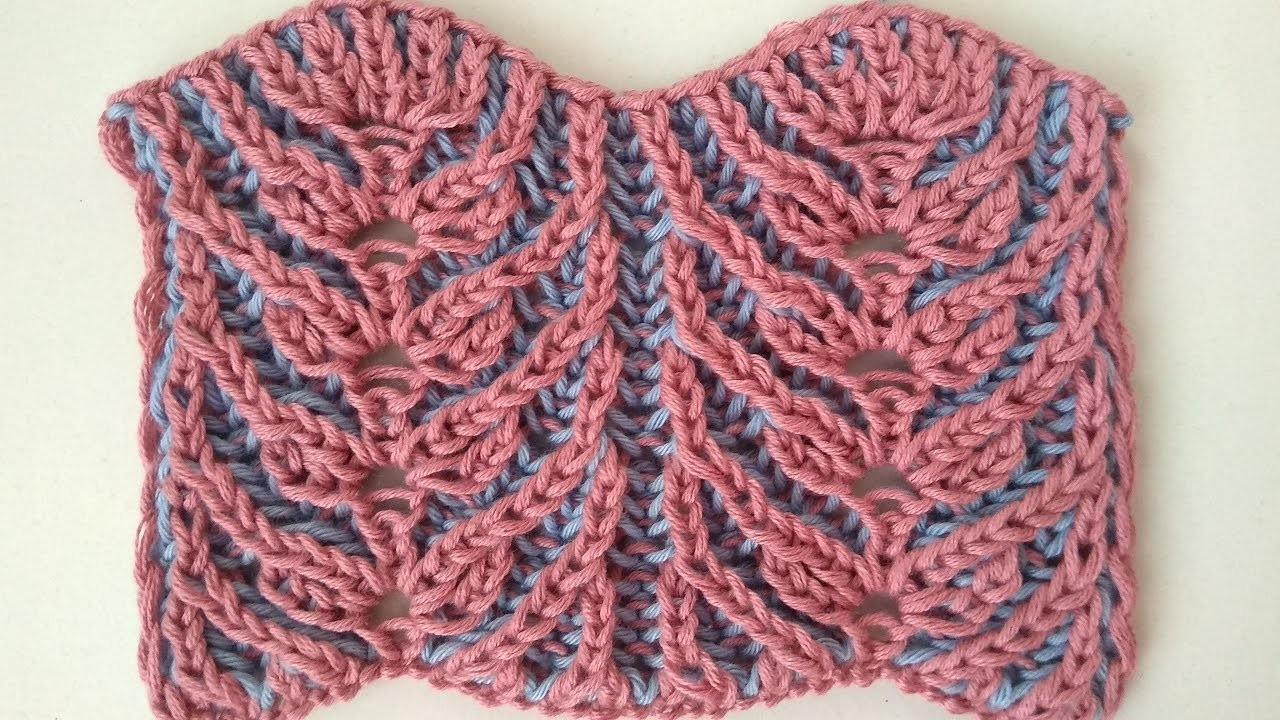 Wheat, two-color brioche stitch knitting pattern + free chart