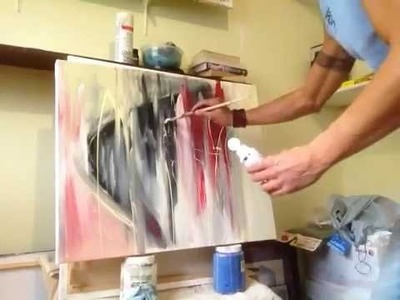"""Abstract Acrylic and Spray Paint on Canvas 24"""" x 30"""" - """"This Moment's Sound"""" Part 1.2"""