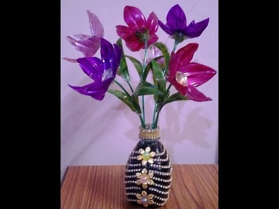 Best Out Of Waste Plastic Bottles converted to Pretty Flowers with Flower Vase