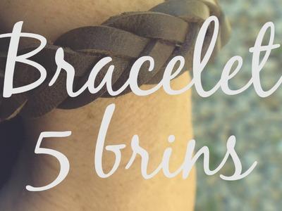 Bracelet Tressé en Cuir de 5 Brins - 5 Strand Leather Braided Bracelet